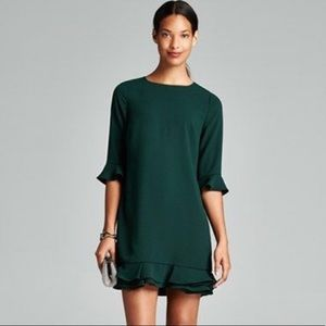 CeCe green Kate ruffle shift dress